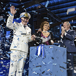 <p>Sophia Loren (center) has served as godmother to the cruise line's new vessels since 2003. // © 2018 MSC Cruises</p><p>Feature image (above):...