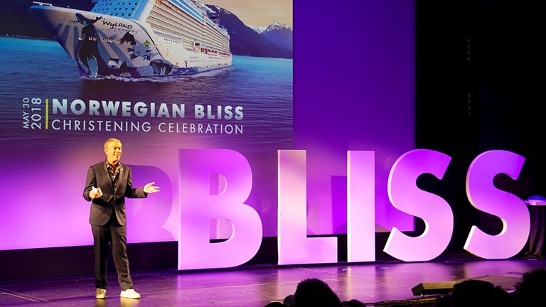 Radio personality Elvis Duran, godfather to Bliss, christened the ship during the ceremony.