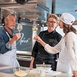<p>The Culinary Arts Kitchen includes 18 cooking stations.  // © 2017 Regent Seven Seas Cruises</p><p>Feature image (above): The 750-passenger Seven...