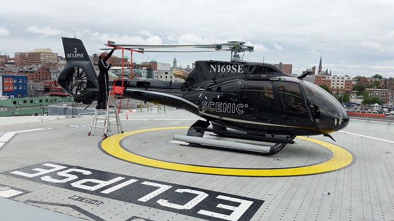 Eclipse carries two, six-passenger Airbus H130 helicopters.
