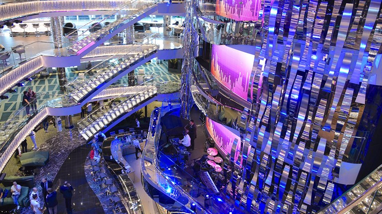 A four-deck atrium features a huge LED screen, three live musicians' balconies and staircases studded in dazzling Swarovski crystals.