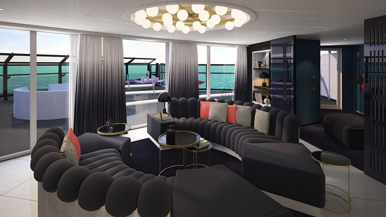 The 2,147-square-foot Massive Suite has its own music room.