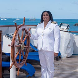 <p>Belinda Bennett // © 2017 Windstar Cruises</p><p>Feature image (above): Bennett is captain of the Wind Star sailing yacht. // © 2017 Windstar...