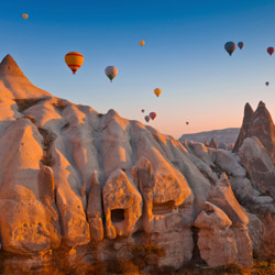 On this fam trip in Turkey, a balloon ride over Cappadocia's unique landscape is an optional activity. // © 2014 Thinkstock