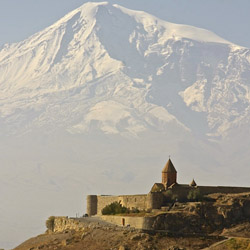 Armenia's Khor Virap Monastery rests in the shadows of Ararat Mountain. // © 2014 Devin Galaudet