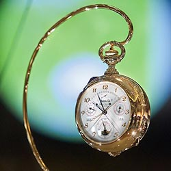 <p>Several unique timepieces, such as this one manufactured by Patek Philippe & Co., can be found in Geneva's Patek Museum. // © 2016 Arnaud...