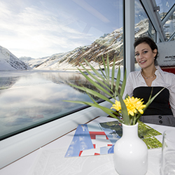 <p>The Glacier Express's interior is spacious, including 36 seats per compartment in first-class. // © 2014 Glacier Express</p><p>Feature image...