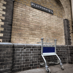 <p>At King's Cross Station, Harry Potter fans can pretend to step onto Platform Nine and Three-Quarters to board Hogwarts Express. // © 2015...