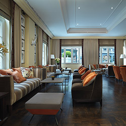 <p>The hotel's lobby lounge offers a relaxed, sophisticated atmosphere. // © 2016 Hotel Amigo</p><p>Feature image (above): The five-star Hotel Amigo...