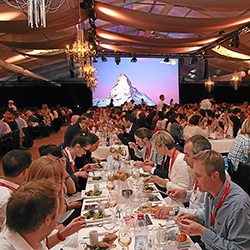 <p>Attendees of the 2015 Switzerland Travel Mart enjoy a three-course meal and entertainment at the official closing ceremony. // © 2015 Switzerland...