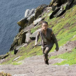 <p>Rey, played by Daisey Ridley, locates Luke Skywalker hiding on a remote island — which is actually Ireland's Skellig Michael island. // © 2017...