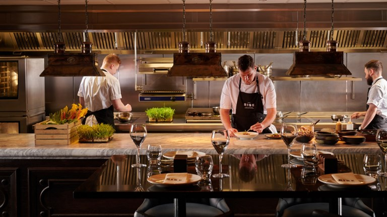 Chefs at work at The Rise, which is set in the five-star Grand Hotel in York.