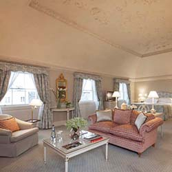 <p>The Lord Monck Suite at The Merrion in Dublin has a boat-shaped ceiling and decor motifs featuring flowers and birds. // © 2015 The...