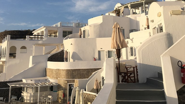 Volcano View Hotel is located just outside Fira, Santorini.