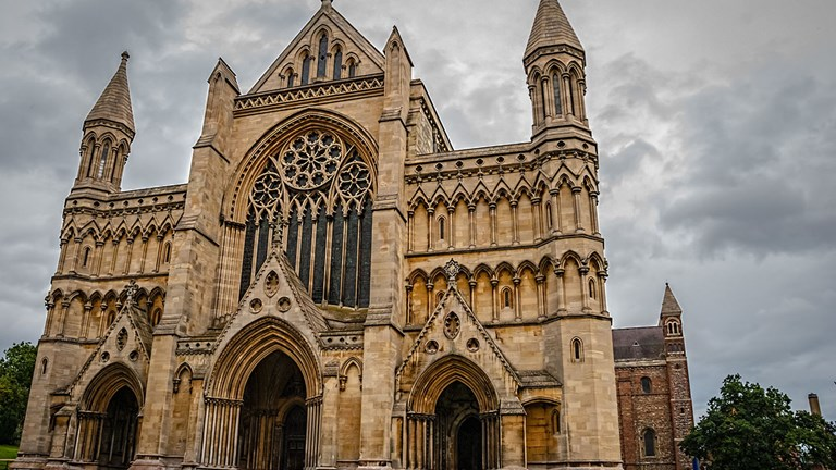 St. Albans Cathedral was built using Roman bricks from the ruins of ancient city Verulamium in 1077.