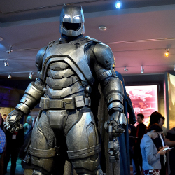 Visitors to Warner Bros. Studio can see Batman's costume, among other items. // © 2016 Warner Bros.; Mike Windle/Getty Images