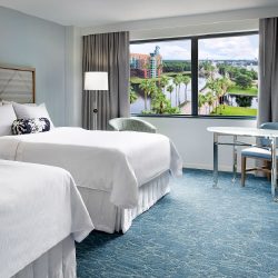<p>Guestrooms have a new modern look. // © 2017 Walt Disney World Swan and Dolphin Resort</p><p>Feature image (above): The new lobby at the Dolphin...