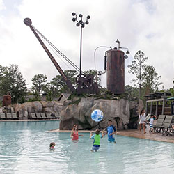 <p>The new Boulder Ridge Cove Pool has a railroading theme. // © 2017 Disney</p><p>Feature image (above): The property's Cascade Cabins are only a...