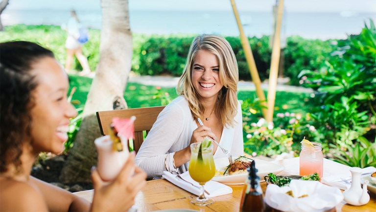 Hula Grill diners feel right at home over dishes made with fresh island products.