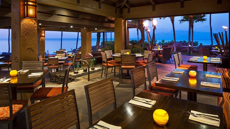 Japengo's alfresco dining areas range from covered patios to outdoor gardens, all with coastal views.