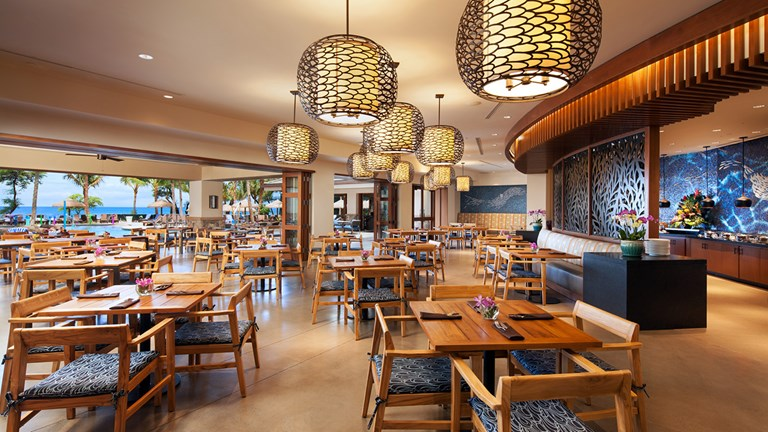 Mauka Makai presents a picturesque, open-air ambiance for meals showcasing the bounty of Maui's land and seas.