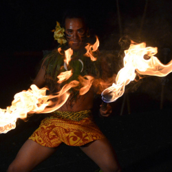 <p>A fire-knife dancer at Royal Kona Resort's Voyagers of the Pacific luau // © 2015 Royal Kona Resort</p><p>Feature image (above): Climb Works' new...