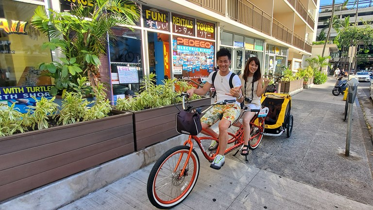 Pedego's e-bike tours start and end at its shop in Waikiki.