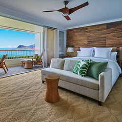 <p>Four Seasons Resort Oahu at Ko Olina's guestrooms, each with a furnished private lanai, will feature decor that is upscale and Hawaiian-style. // ©...