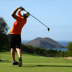 <p>Wailea Resort features three golf courses including the Wailea Emerald, a course fronted by a lake. // © 2014 Matthew Thayer</p><div></div>