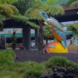 <p>A painted sculpture of a sea turtle is one of many tropical touches at Hilo International Airport on Hawaii Island. // © 2014 E....