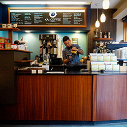 <p>Kai Coffee baristas imbue each cup with Hawaii's famous Kona coffee. // © 2017 Kai Coffee</p><p>Feature image (above): Coffee Lounge's light-filled...