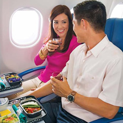 <p>All Hawaiian Airlines passengers get an included hot meal with wine on transpacific flights. // © 2015 Hawaiian Airlines</p><p>Feature image...