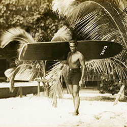 <p>Duke Kahanamoku, Hawaii's famed surfing and swimming star // © 2015 Bishop Museum Archives</p><p>Feature image (above): The new exhibit is...