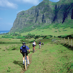 <p>Bike Hawaii leads off-road tours of Kaaawa Valley in windward Oahu. // © 2015 Bike Hawaii</p><p>Feature image (above): Scooters are a breezy way to...