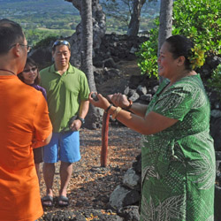 <p>Sheraton Kona Resort & Spa cultural expert Nani Kupihe engages guests during a cultural walking tour. // © 2015 Sheraton Kona Resort & Spa...