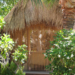 <p>Thatched-roof huts add to the sense of place at Mauna Lani Spa. // © 2015 Mauna Lani Spa</p><p>Feature image (above): Smooth bamboo stalks of...