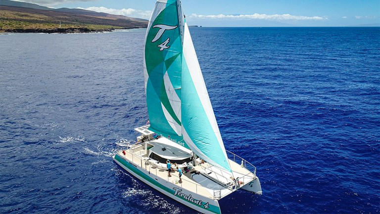 Like its sister catamarans, the new Teralani 4 plies the protected waters of the Auau Channel in northwest Maui.