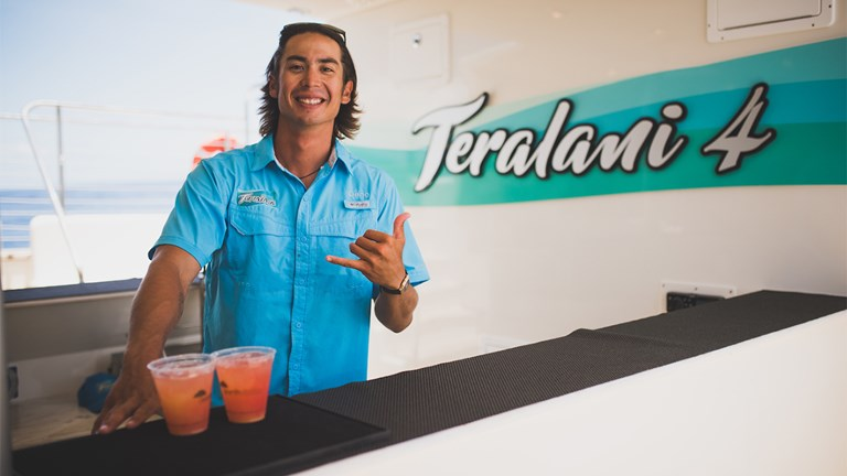 Friendly and efficient staffers keep the drinks flowing during all Teralani's excursions.