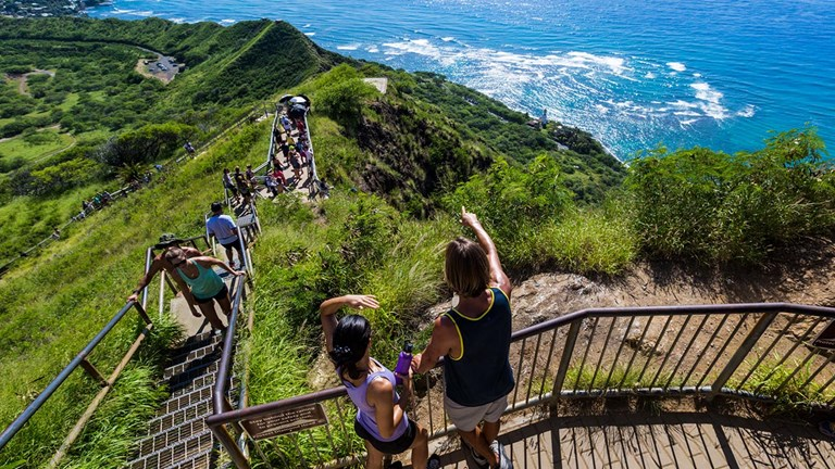 Pull-outs and landings along the Diamond Head trail give hikers time to catch their breath and enjoy the views.