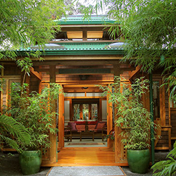 <p>For lodging near Hawaii Volcanoes National Park, consider the Bamboo House at Volcano Rainforest Retreat. // © 2015 Volcano Rainforest...