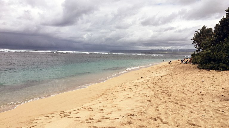 Even on a cloudy day, Aweoweo is Waialua's go-to beach for swimming and relaxing.