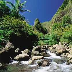 <p>Streams, trails and lush landscapes draw visitors to Iao Valley. // © 2015 HTA/Ron Dahlquist</p><p>Feature image (above): The historic Iao Theatre...