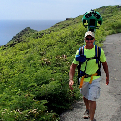 Curt Cottrell of the Hawaii Department of Land and Natural Resources treks the Kaiwi State Scenic Shoreline on Oahu with a Google Street View camera....