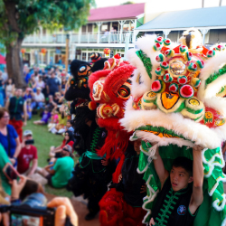 Chinese New Year festivities draw crowds to Lahaina's Wo Hing Museum. // © 2018 Melanie Agrabante