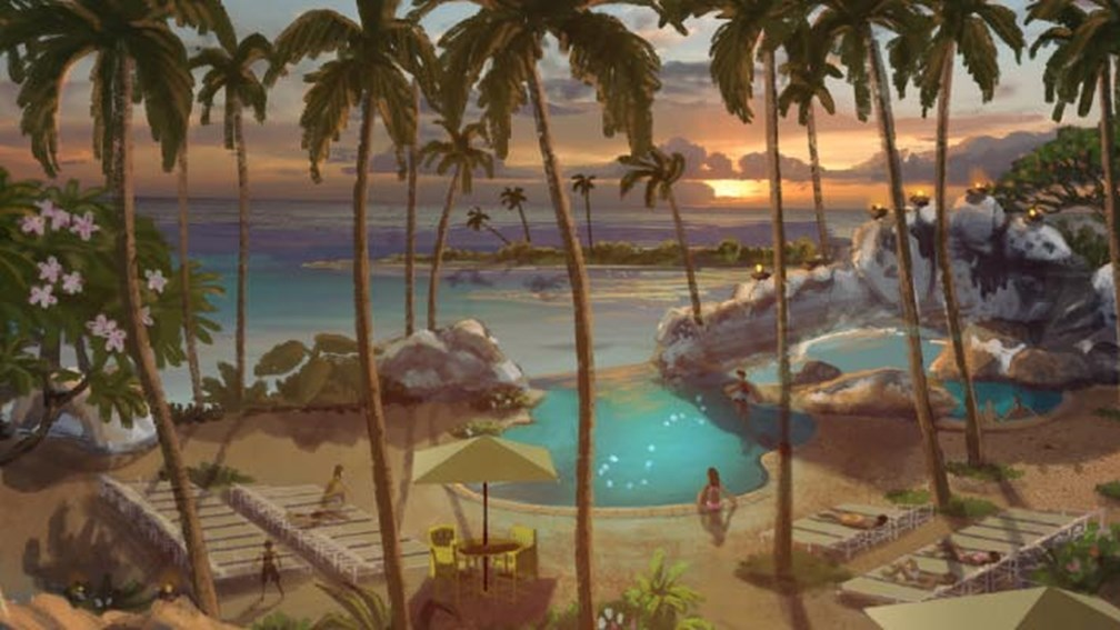 An artist rendering of the new pool and water-play area at Aulani // © 2013 Disney 3