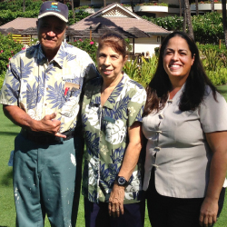 Cheryl Takahashi (center) has worked with eight of her family members at Sheraton Maui, including her husband Robert (left) and daughter Laurie...