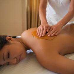 Grand Wailea's new farm-to-spa massage treatment incorporates fresh honey cultivated on site. // © 2013 Michael Gilbert