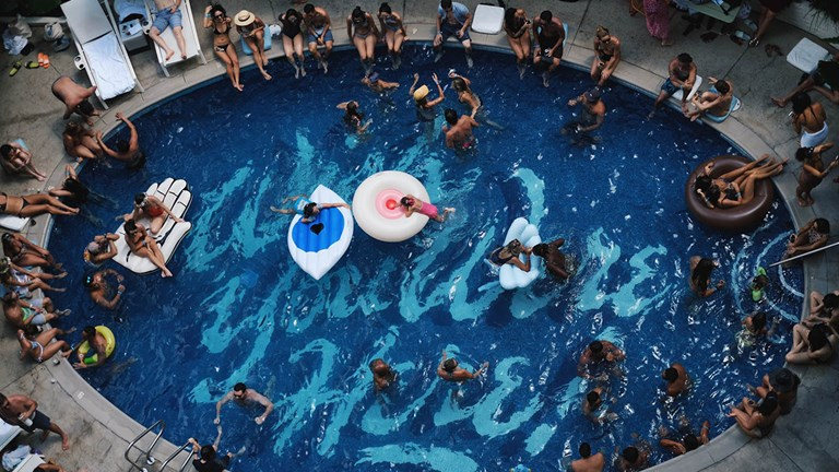 Surfjack Hotel's pool is a popular place for millennials to mingle.