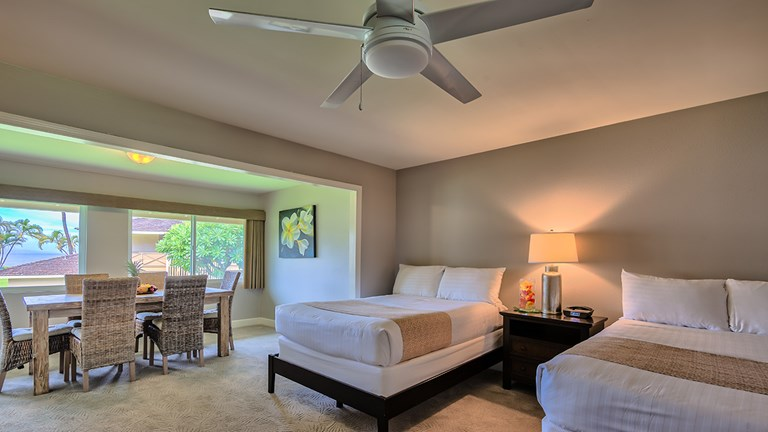 Royal Lahaina cottages have been fully renovated with furnishings evoking a contemporary Hawaii ambiance.