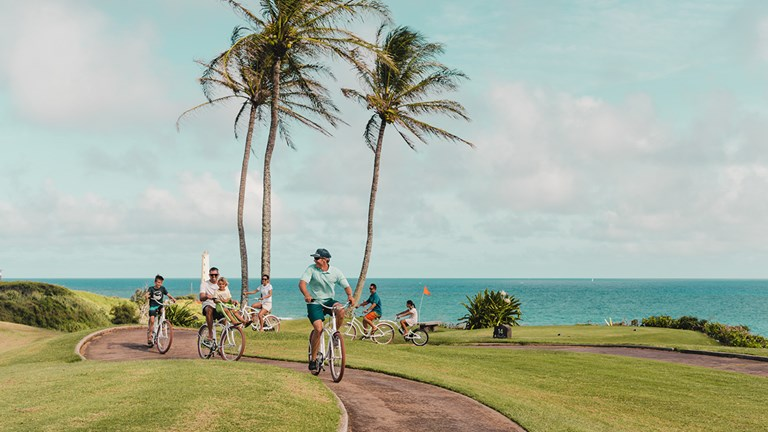 On a guided bike tour, Timbers Kauai guests can experience the resort's trail system and learn about native plants and wildlife.